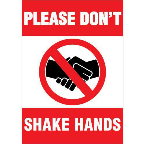 NO HANDSHAKE DECAL 10 X 7 STATIC CLING